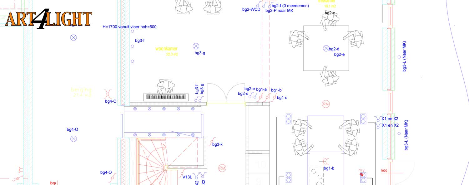 Autocad drawing for a light plan